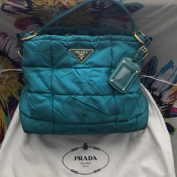 47a2379bec Prada Turquoise Patent Leather Puffer Tote. M 5b761eb8b6a942f7bb820168